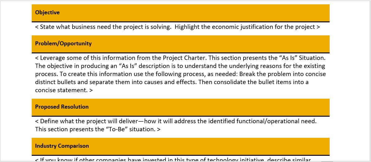 Project Business Case Template from www.modeloe.com