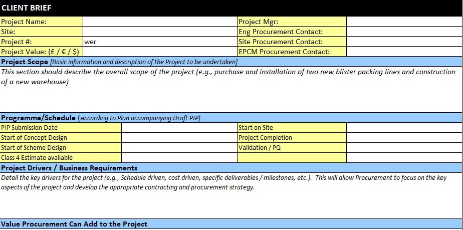 Project Procurement Plan Template