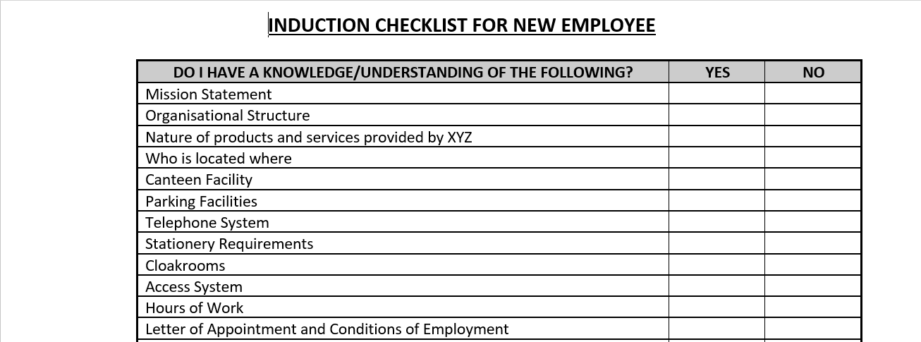 employee induction form