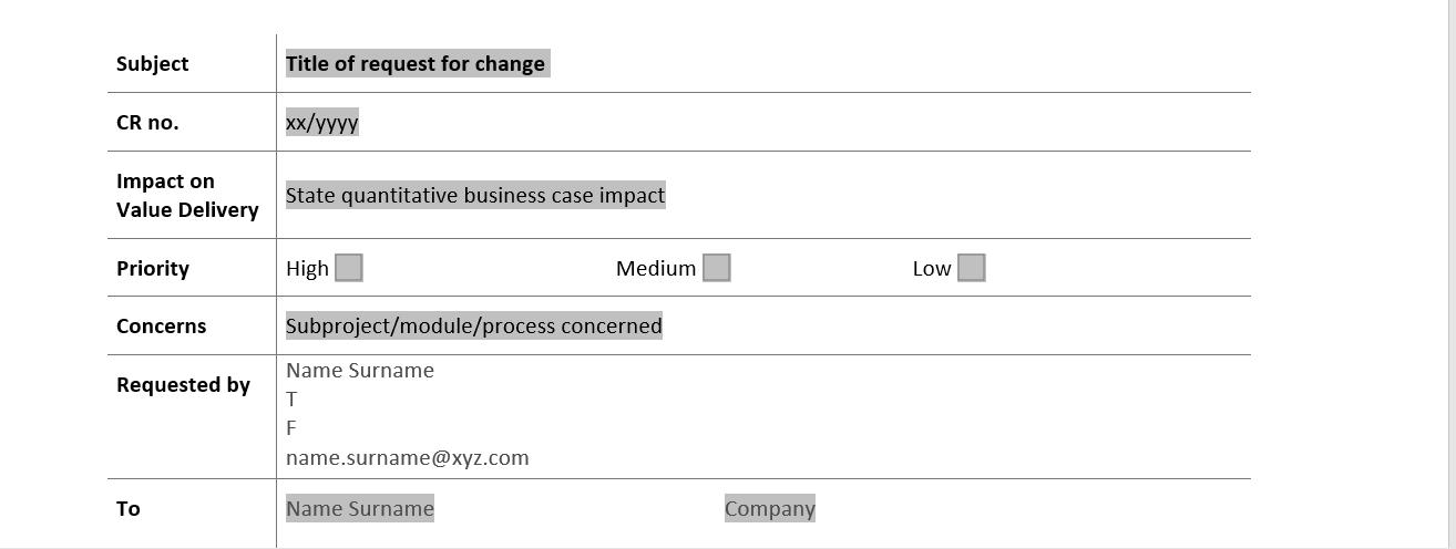 Sap Change Request Form